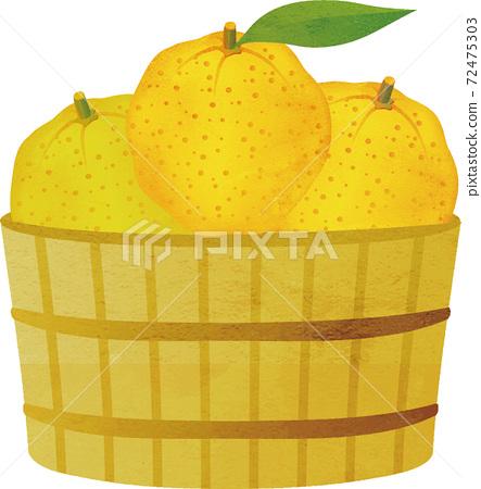 Winter yuzu yuzu hot water fruit watercolor illustration material 72475303