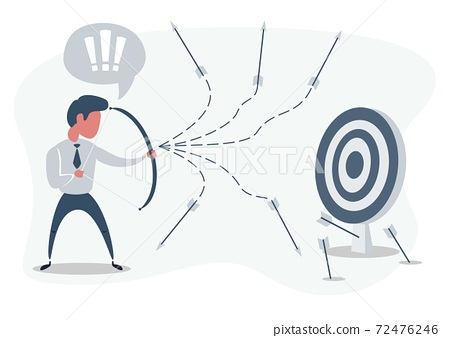 Man or businessman shooting arrow at target with bow and missing. Business concept of failure. 72476246