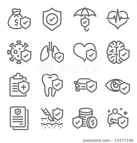 Insurance icon illustration vector set. Contains such icons as an Insurance policy, Dental, Health, Protection, eye, tooth, car, brain, and more. Expanded Stroke 72477190