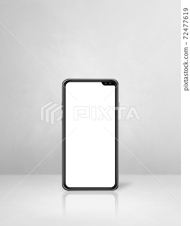 Mobile phone on white concrete office desk background 72477619