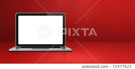 Laptop computer on red office scene background banner 72477625