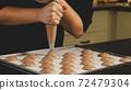 Chef making base for preparation macaron dessert. 72479304
