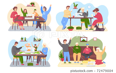 Set of illustrations about family playing board game. People with a sewing machine on the table 72479884