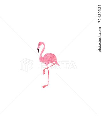 可愛的粉紅色的火烈鳥的插圖 72480385