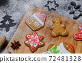 Homemade Xmas cookie for Christmas and Happy New Year. Cooking gingerbread with friend and Family on winter holiday at home. 72481328