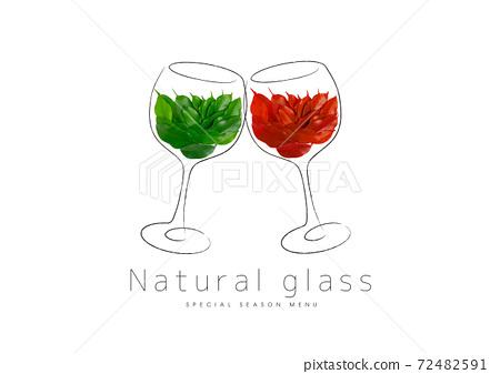 一杯綠色的葉子和一杯紅色的葉子 72482591