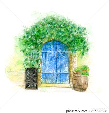 一家老店的入口處滿是葡萄藤 72482604