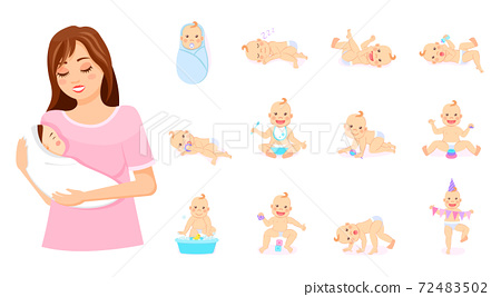 Mother with baby on hands, set of babies in different poses, newborns, emotions of baby, motherhood 72483502
