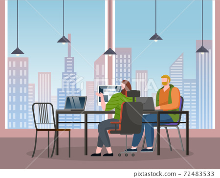 Office workers working with computers sitting at table in stylish office with panoramic windows 72483533