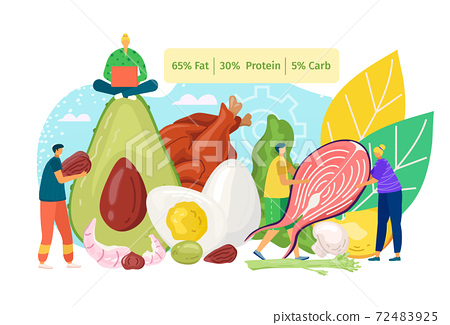 Ketogenic food and diet healthy nutrition concept, vector illustration. Flat protein, meat, egg, fish eating at keto cartoon lifestyle. 72483925