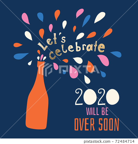 Happy New Year 2021celebration holiday greeting card vector template. Let us celebrate end of 2020 72484714