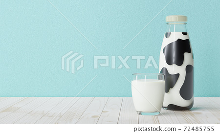 Bottle of milk and glass of milk 72485755