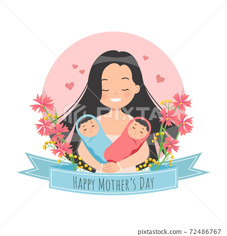 Happy Mother's day celebration. Mom holding twin babies. Flat vector illustration. 72486767