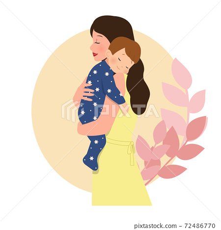 Baby boy sleeping on mother's arm. Mom and baby hugging. Parenthood. Flat style vector design isolated on white. 72486770