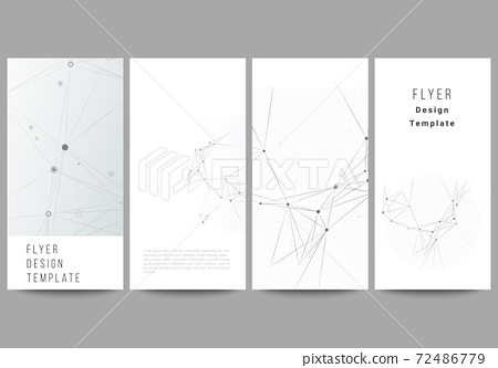 Vector layout of flyer, banner design templates for website advertising design, vertical flyer design, website decoration. Gray technology background with connecting lines and dots. Network concept. 72486779