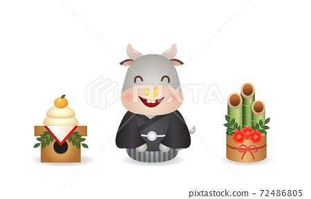 Cute ox sitting in Japanese kimono style between kagamimochi and kadomatsu. Japan new year celebration. Vector clip art isolated on white 72486805