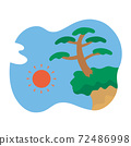 懸崖松樹和太陽 72486998