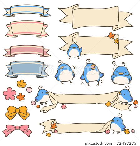 藍鳥和絲帶框架 72487275