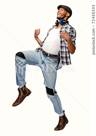 Young African-American man yes win gesturing over white background 72488503