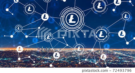 Litecoin with downtown Los Angeles 72493796