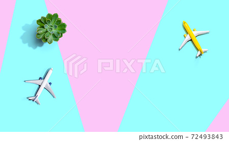 Travel theme with miniature airplane 72493843