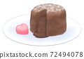 Fondant chocolate on a plate with heart-shaped chocolate 72494078