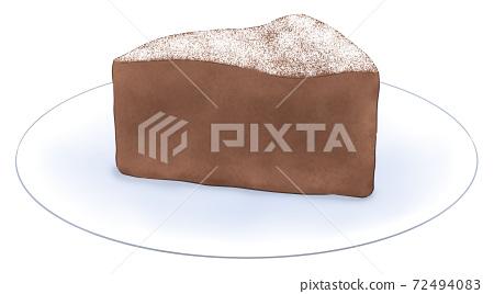 Gateau chocolate on a plate 72494083
