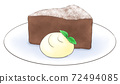 Gateau chocolate on a plate with fresh cream, 1 color 72494085