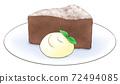 特製的特濃巧克力在新鮮奶油的盤子上,1色 72494085