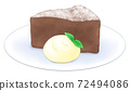 Gateau chocolate on a plate with fresh cream 72494086