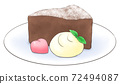 One color of gateau chocolate on a plate with heart chocolate and fresh cream 72494087