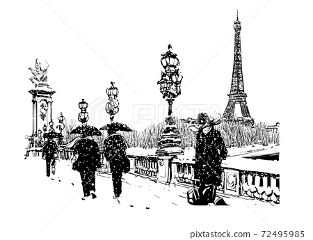 Pont Alexandre III under snow, Paris, France 72495985