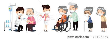 의사와 간호사가 병원에 있는 노인들에게 Covid-19 백신을 주사하는 장면.  72496875
