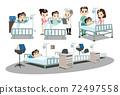 躺在床上的病人和醫護人員照顧病人。人物插圖。 72497558
