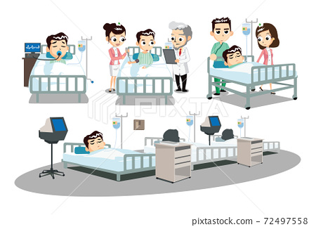 Patients lying in bed and medical staff taking care of patients. Character illustration. 72497558