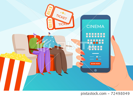Ticket to cinema, online internet booking technology for movie theater vector illustration. Mobile coupon sale in smartphone app background. 72498049