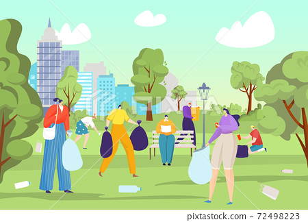Clean up park from garbage, vector illustration. City environment ecology, volunteer community work with flat trash at nature 72498223