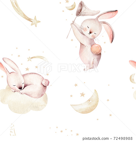 Cute baby rabbit animal seamless dream pattern comet with gold starsin night sky, forest bunny illustration for children clothing. Nursery Wallpaper background Woodland watercolor Hand drawn image for 72498988