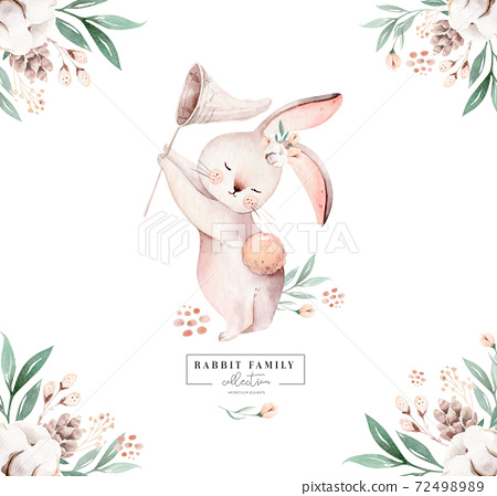 Watercolor Happy Easter baby bunnies design with spring blossom flower. Rabbit bunny kids illustration isolated. Hand drawn Easter cartoon forest hare animal bunny holiday funny decoration. Nursery 72498989