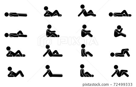 Stick figure male lie down various positions vector illustration icon set. Man person sleeping, laying, sitting on floor, ground side view silhouette pictogram 72499333