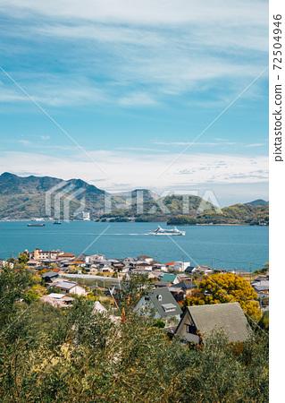 Shodoshima island seaside village at Olive park in Kagawa, Japan 72504946