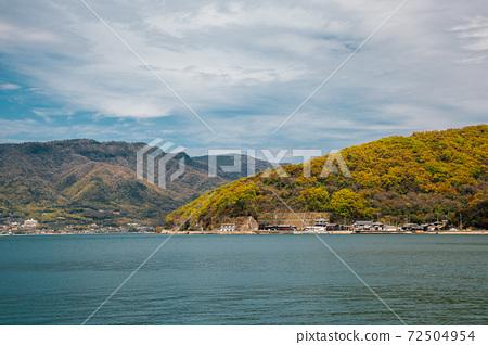 Blue sea with mountain in Shodoshima, kagawa, Japan 72504954