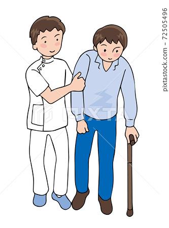 一個男人with著拐杖和照顧者 72505496