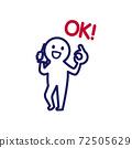 簡單和變形的人類插圖,打個電話時給出一個好的跡象 72505629