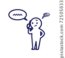 打電話時遇到麻煩的人的簡單且變形的圖示 72505633