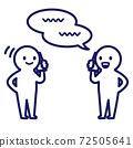 兩個人在講電話的簡單和變形的插圖 72505641