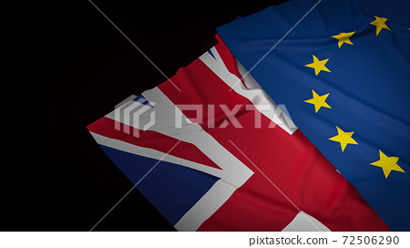 The Union Jack flag and  euro flag for background  3d rendering 72506290
