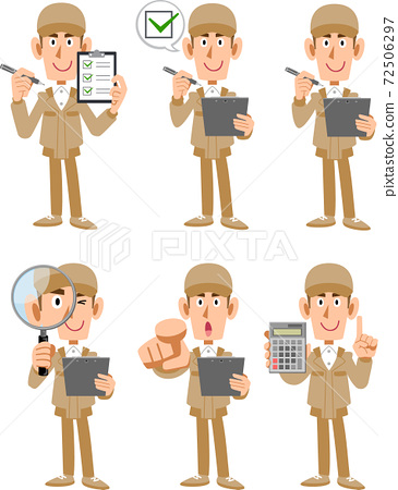 一個男人的全身,米色工作服,帶放大鏡和文件 72506297