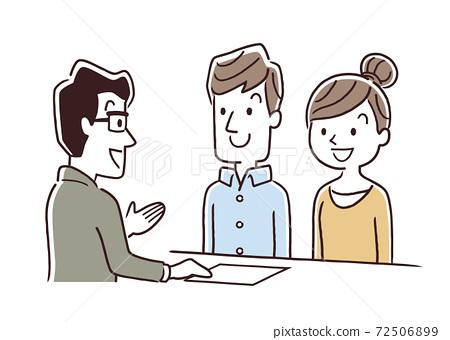 矢量圖素材:夫婦,窗口,客戶服務,接待,函授 72506899