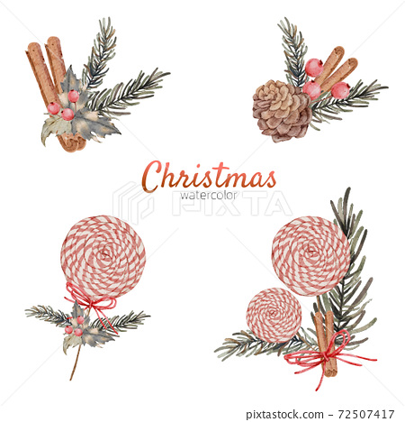 Christmas element with watercolor  72507417